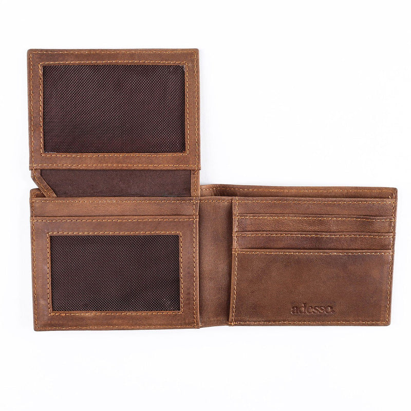 Saddle Leather Brown Striped Wallet