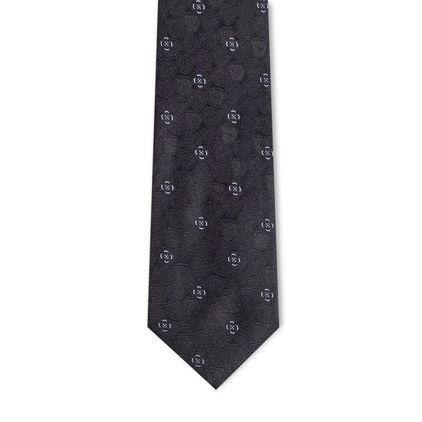 Black Silver Leaf Necktie Neckties Adesso Accessories