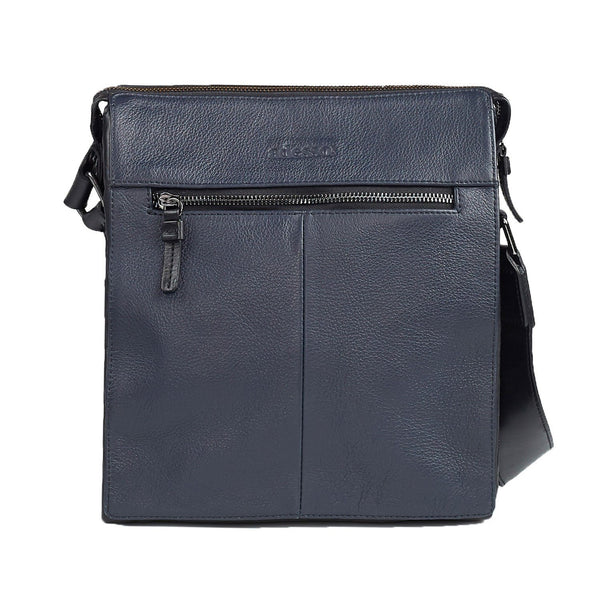 Signature Navy Blue Leather Satchel Bag Leather Goods Adesso Accessories