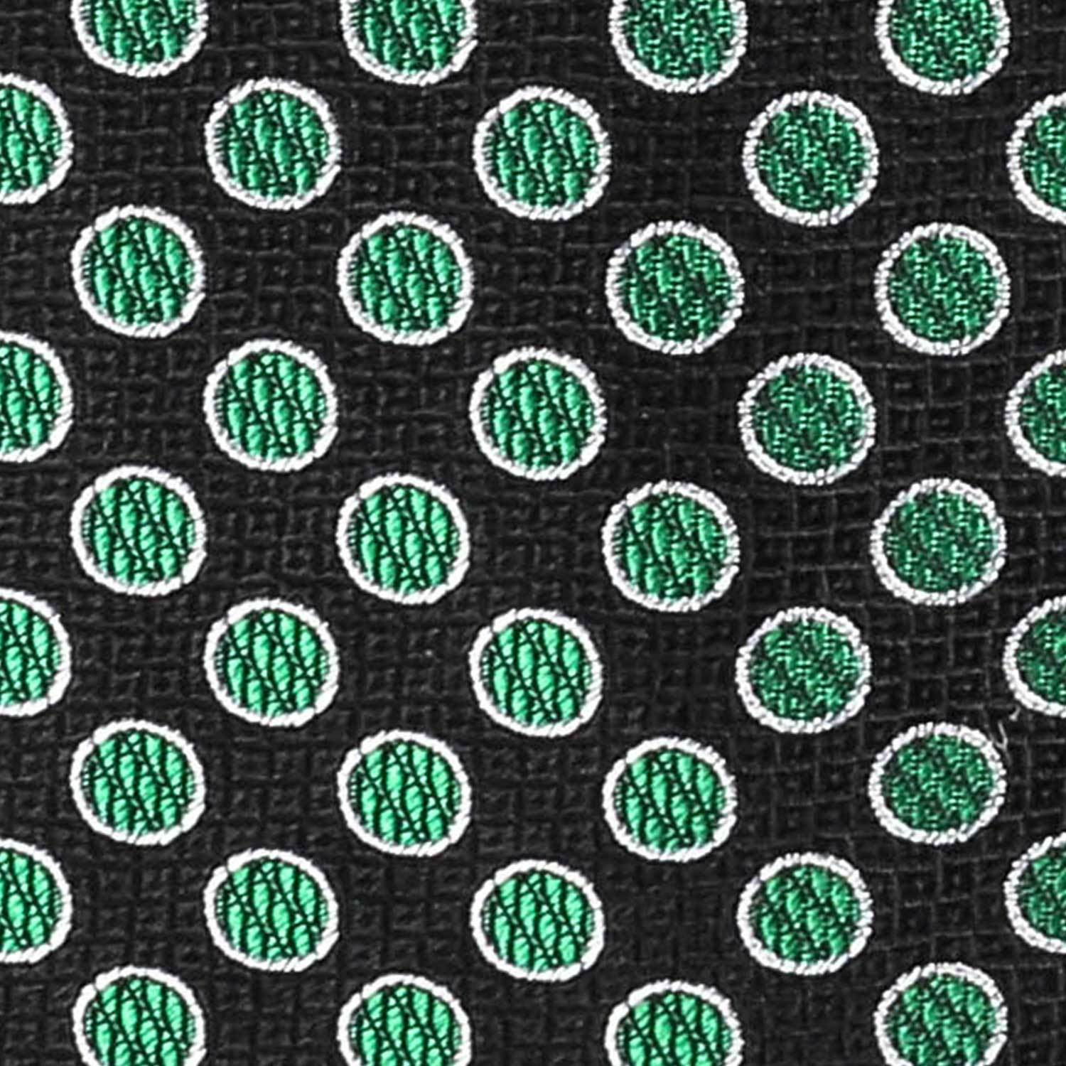 Green and Black Polka Dot Tie Neckties Adesso Accessories