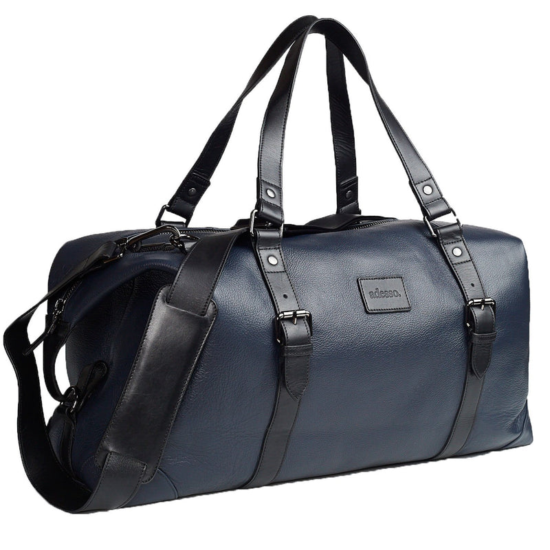 Roberto Modern Duffle Bag Leather Goods Adesso Accessories Navy Black