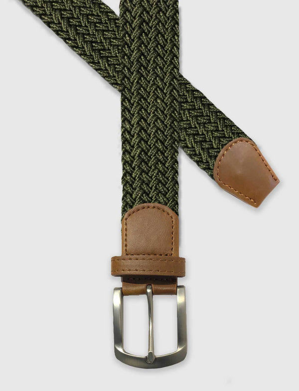 Olive Green Braided Stretch Belt