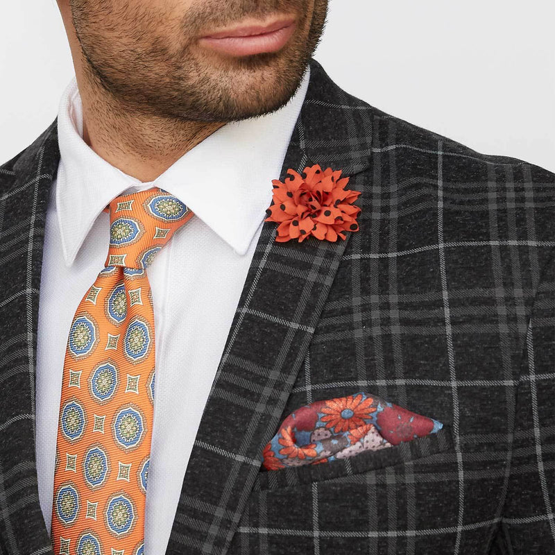 Orange & Black Polka Dot Lapel Pin