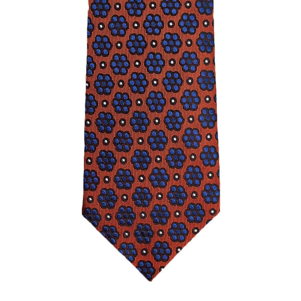 Orange Navy Blue Floral Necktie