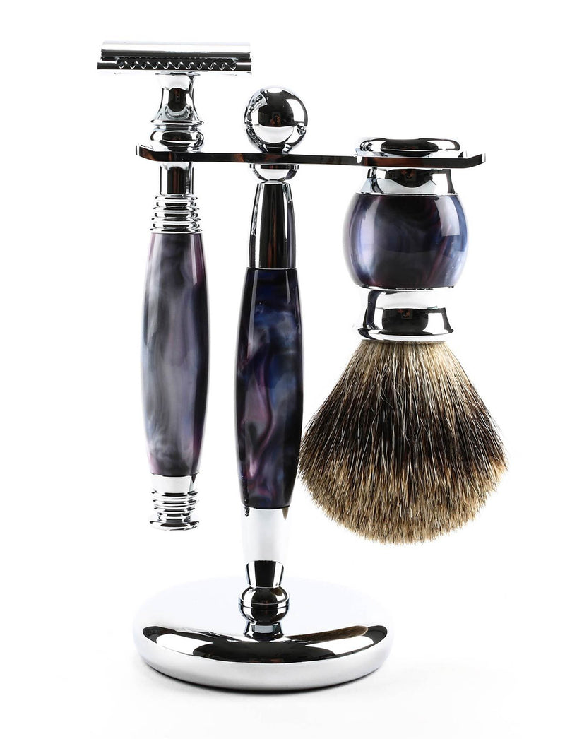 3 Pc Purple Swirl Safety Razor Set