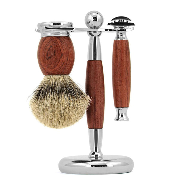 3 Pc Rosewood Safety Razor Set Grooming Supplies Adesso Accessories