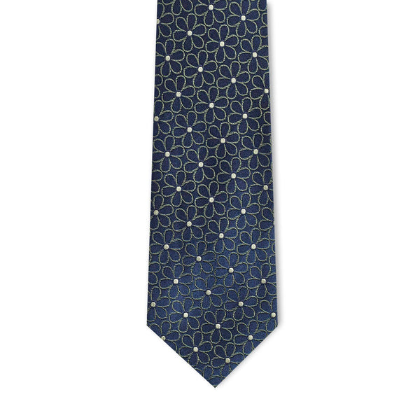 Navy Green Flower Necktie