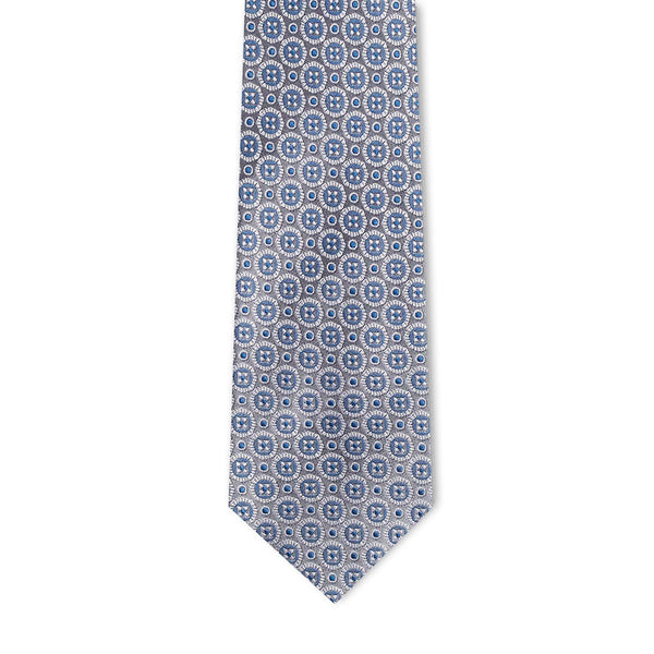 Grey Blue Medallion Necktie Neckties Sirocco Fan Accessories