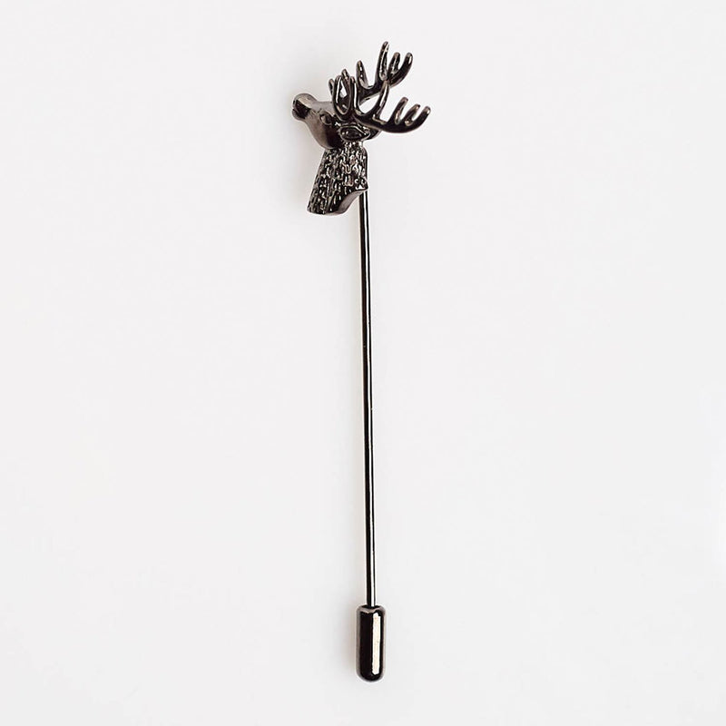 Gunmetal Stag Lapel Pin