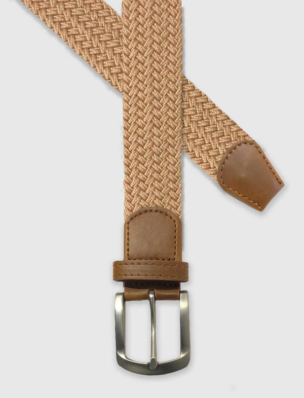 Tan Braided Stretch Belt