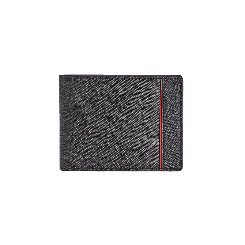 Black Saffiano Red Striped Wallet