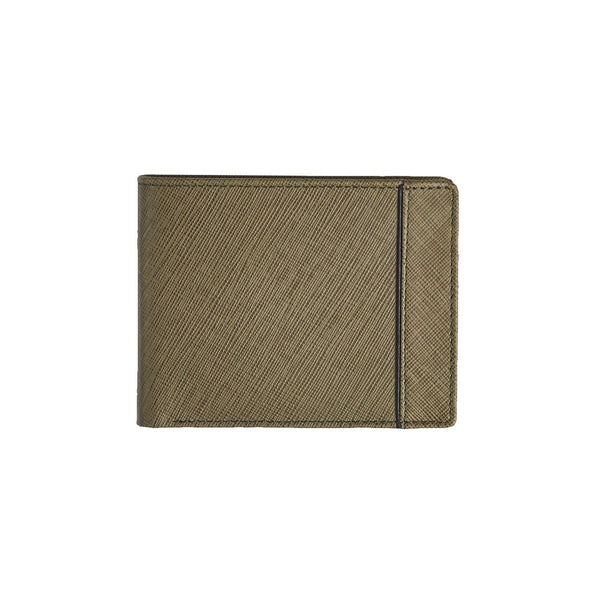 Olive Green Saffiano Bi-Fold Wallet Leather Goods Adesso Accessories