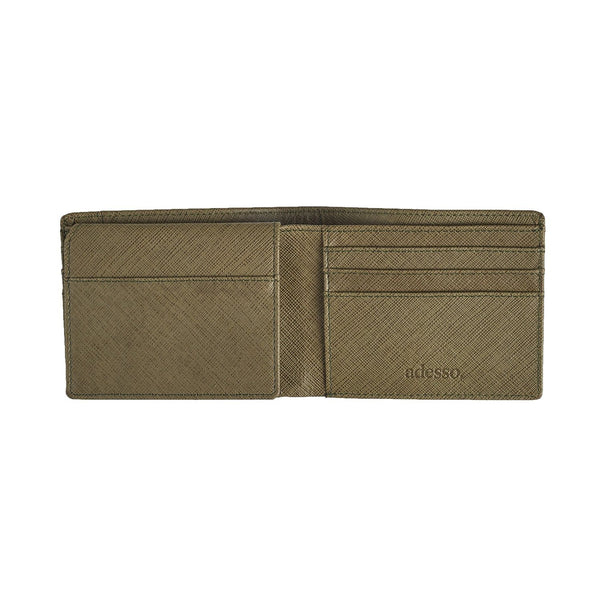 Olive Green Saffiano Bi-Fold Wallet Leather Goods Sirocco Fan Accessories