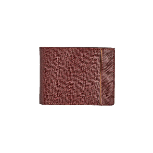 Brown Saffiano Bi-Fold Wallet Leather Goods Adesso Accessories