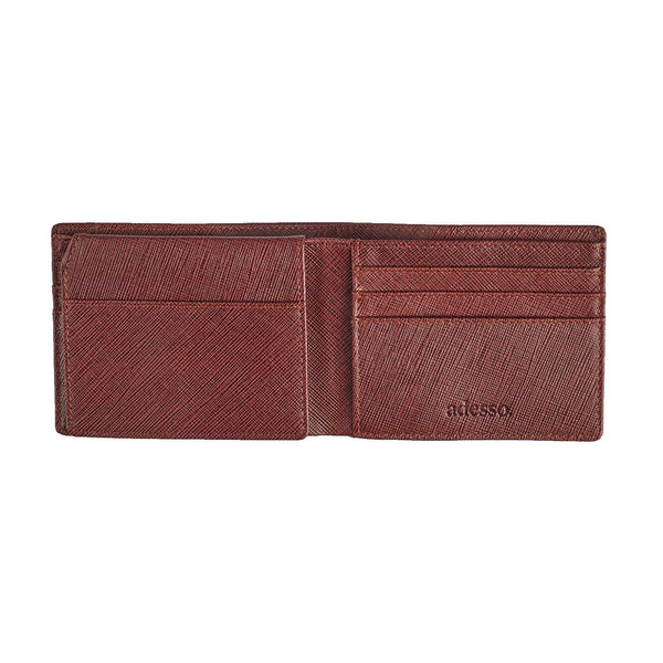 Brown Saffiano Bi-Fold Wallet