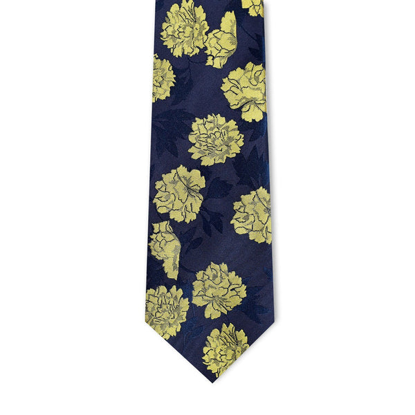 Navy & Yellow Floral Necktie Neckties Adesso Accessories