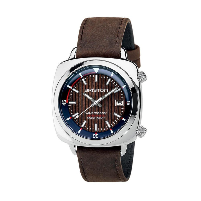 Clubmaster Diver Yachting Steel - Steel & Walnut Watches Briston
