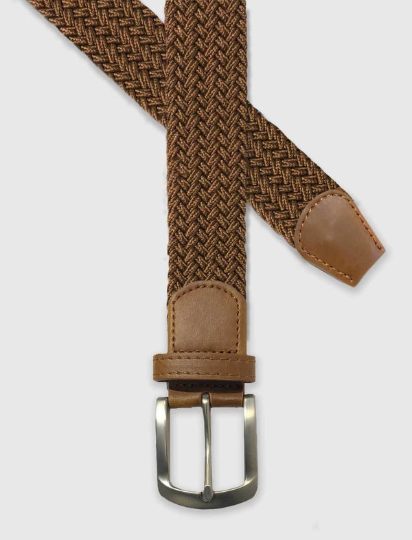 Caramel Brown Braided Stretch Belt