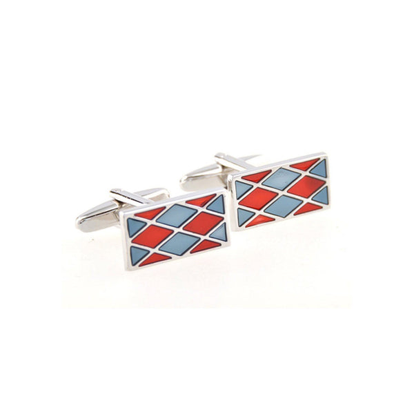Blue and Red Diamond Cufflinks Cufflinks Adesso Accessories