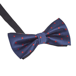 Blue & Red Polka Dot Bow Tie