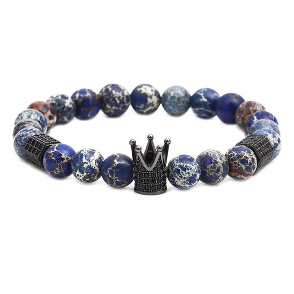 Gunmetal Impression Jasper Crown Bracelet Bracelets Adesso Accessories