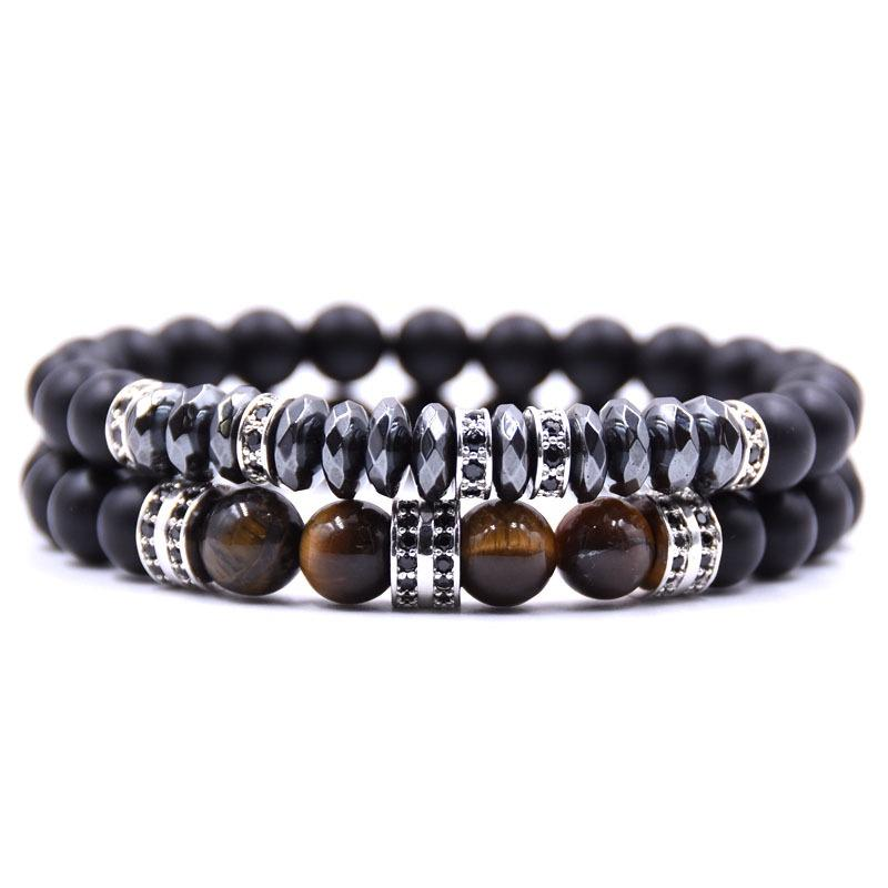 Gunmetal Black Agate Tigers Eye Bracelet Set