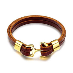 Brown Leather Golden Anchor Bracelet
