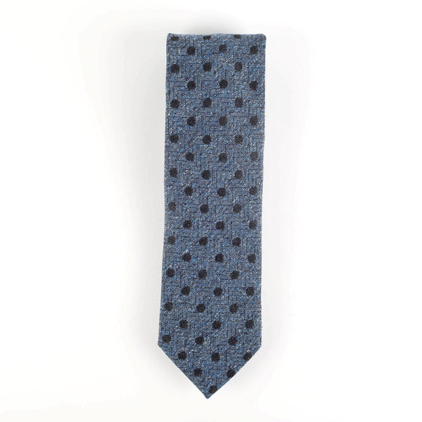 Navy Blue Polka Dot Wool/Silk Italian Tie