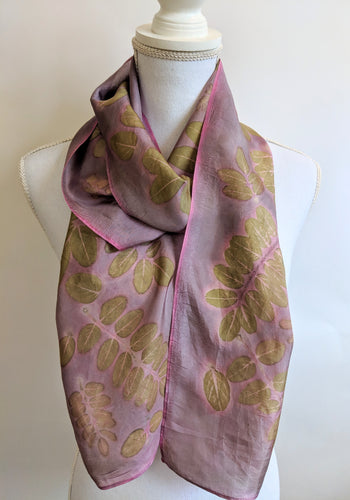 Silk Habotai Naturally Dyed & Eco-Printed scarf