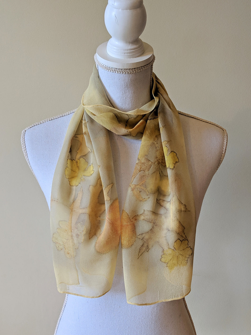 Silk Chiffon Naturally Dyed & Eco-Printed Scarf
