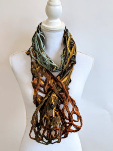 Lacey Earthtone felted scarf