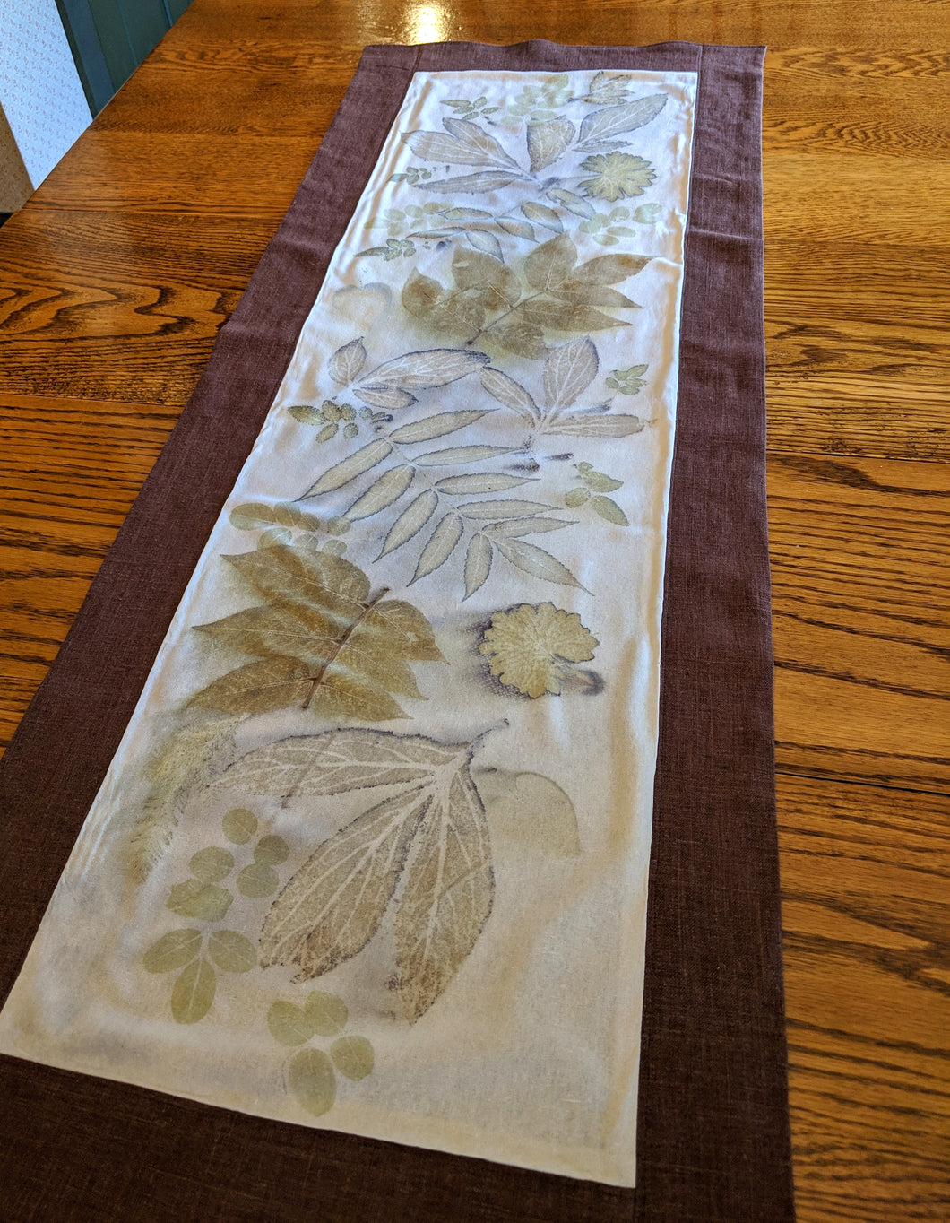 Raw Silk & Linen Eco Printed Table Runner