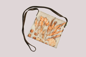 Eco Print Crossbody Felt Purse with Leather Strap