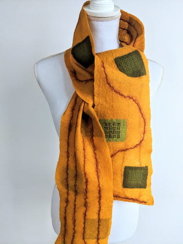 Hand Felted Block Printed Merino Scarf