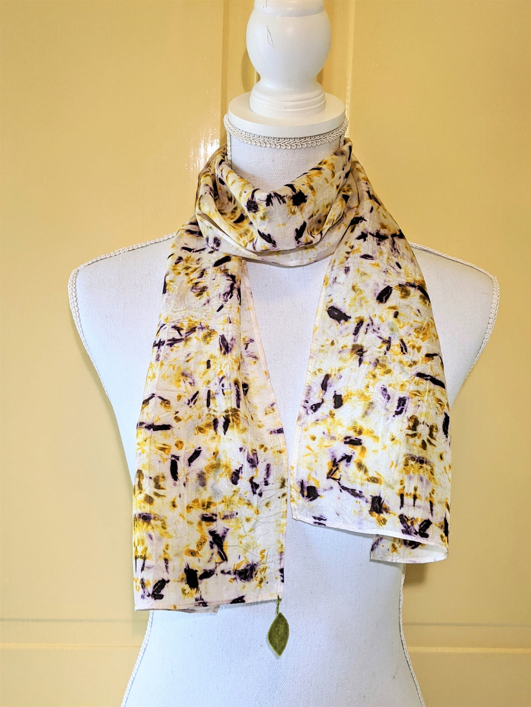 Dot to Dot / Yellow & Purple Eco Print Scarf