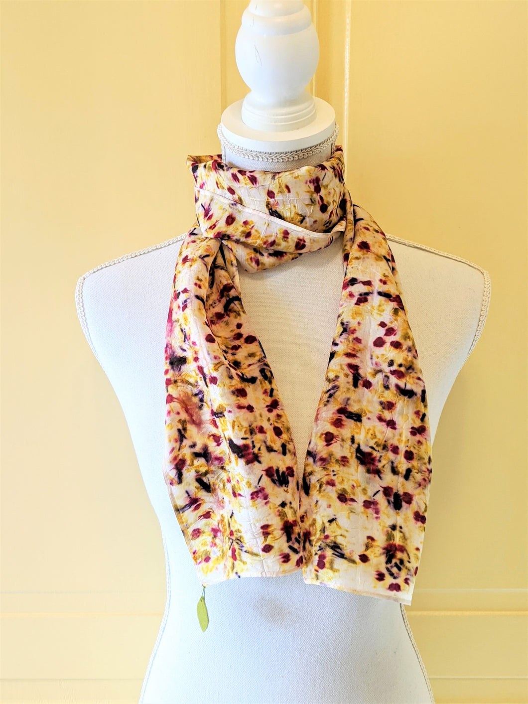 Dot to Dot / Red, Yellow & Purple Eco Print Scarf
