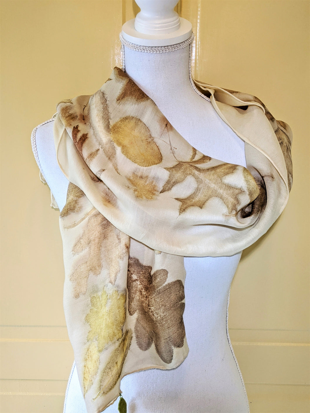 Merino Wool & Silk Naturally Dyed & Eco-Printed Scarf