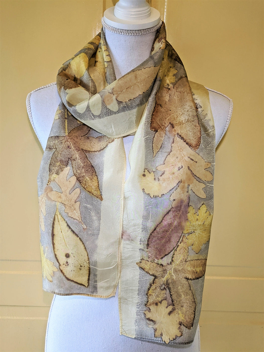 Silk Habotai Scarf Naturally Dye and Eco-Printed