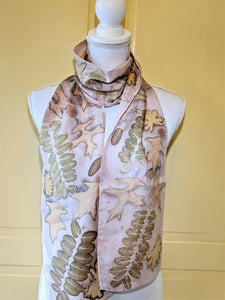 Silk Habotai Naturally Dyed and Eco-Printed Scarf
