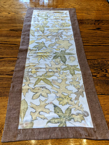 Raw Silk & Pure Linen Botanically Printed Table Runner