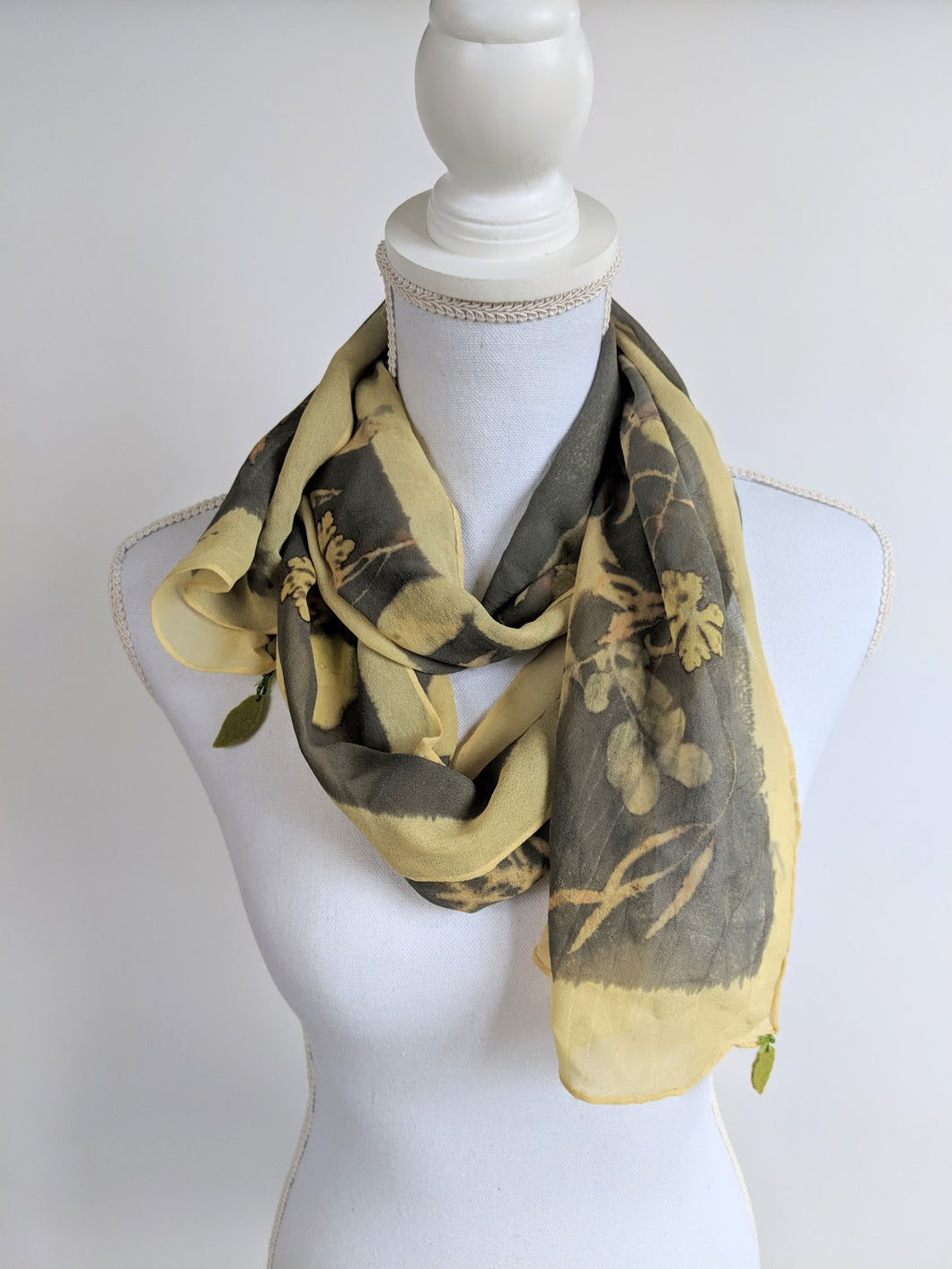 Silk Chiffon Naturally Dyed and Eco-Printed Scarf