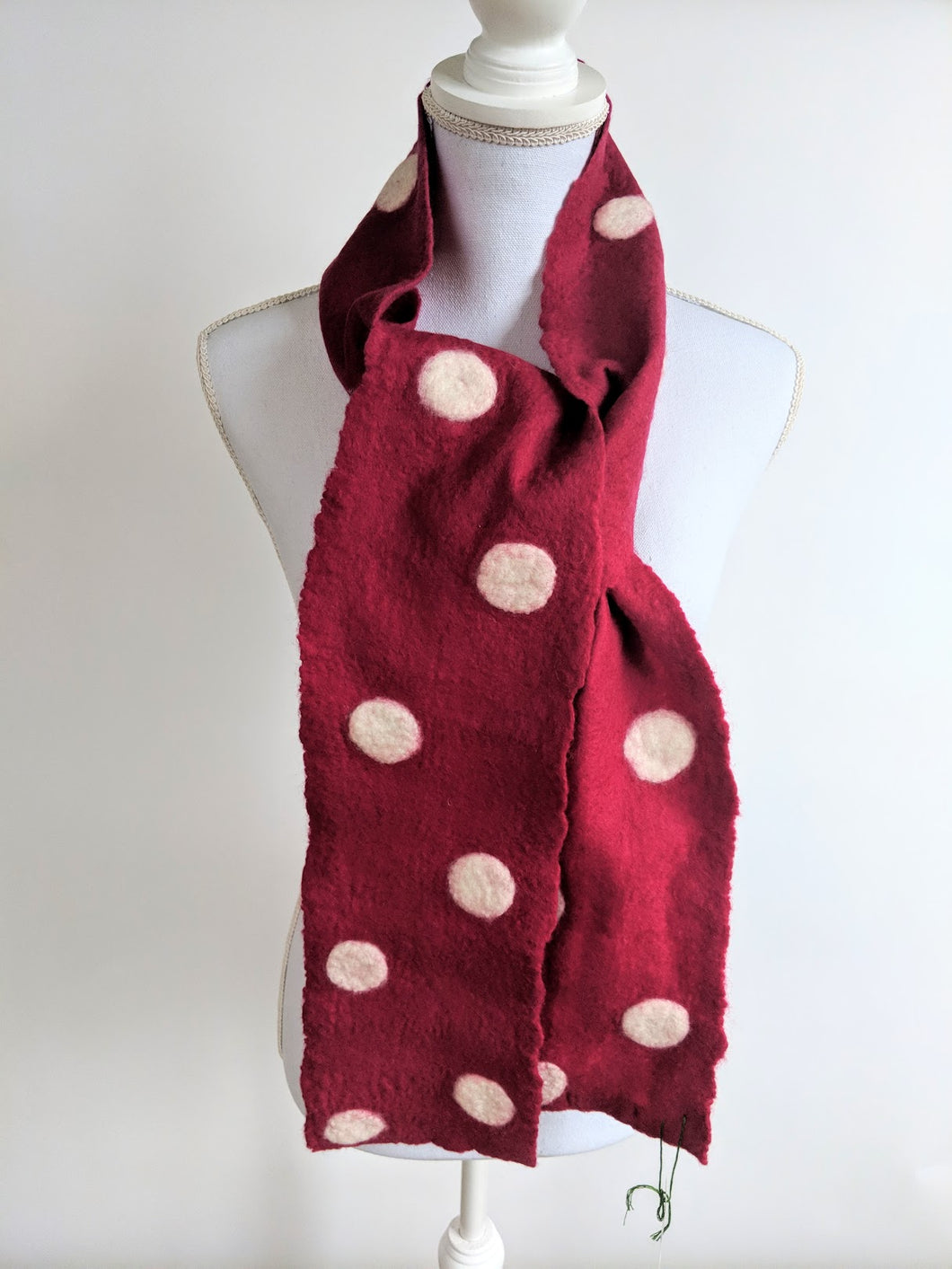 Polka Dot Hand Felted Scarf