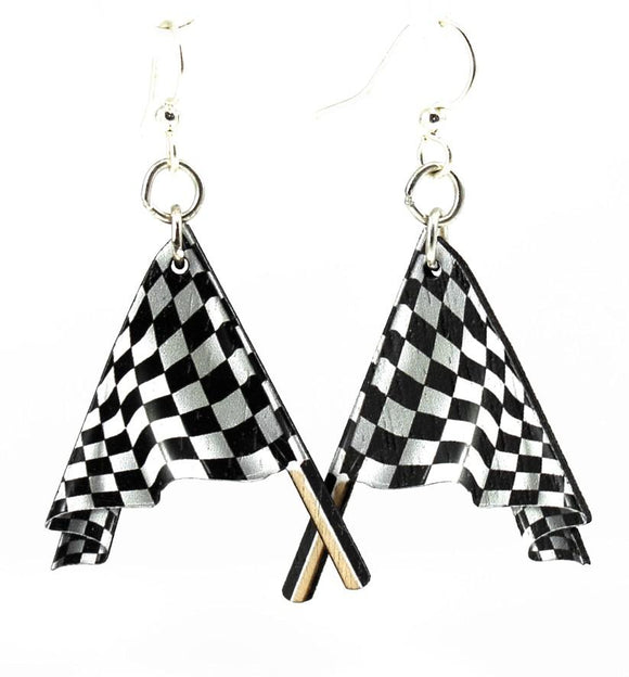 Racing Flag Laser Cut Earring