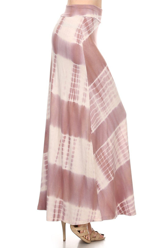 Tie Dye, Striped, Soft, Fold over, Maxi Skirt