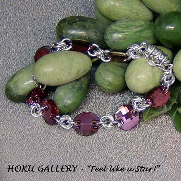 Chainmaille /Crystal Bracelet, Antique Pink - Hoku Gallery