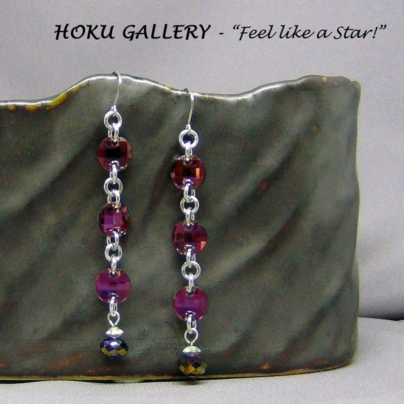 Chainmaille / Swarovski Crystal Lilac Shadow, Earrings - Hoku Gallery