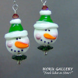 Lampwork Glass Snowmen w/ Green Hat Earrings - Hoku Gallery - Hoku Gallery