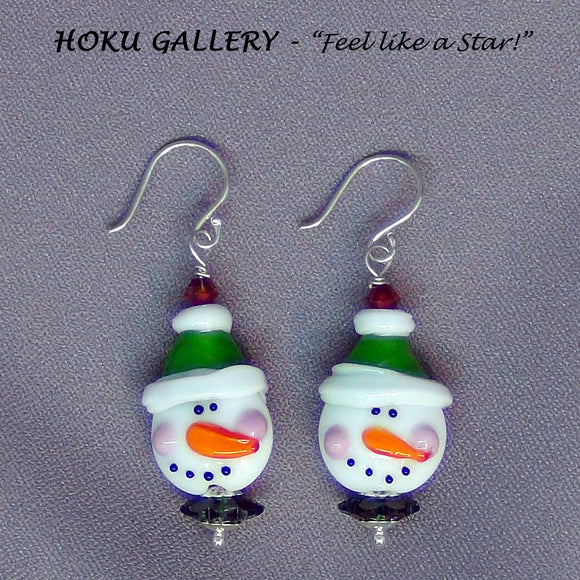 Lampwork Glass Snowmen w/ Green Hat Earrings - Hoku Gallery
