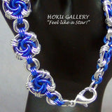 Chainmaille Bracelet, Bright Aluminum & Lapis Blue Enameled Copper - Hoku Gallery