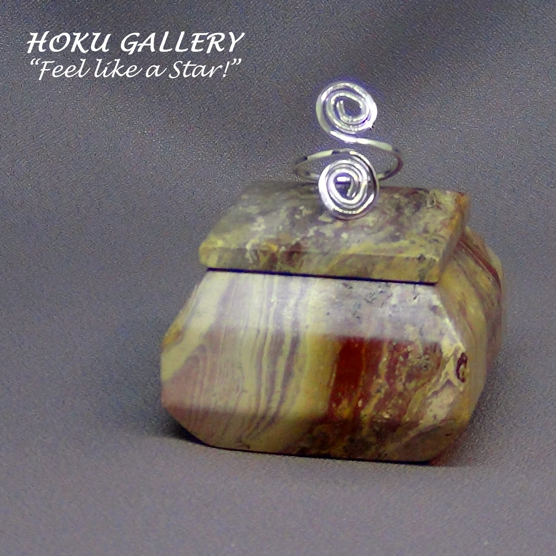 Wire Wrapped, Double Swirl Adjustable Ring by Hoku Gallery